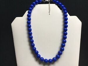 Women's Short Royal Blue Bead Necklace