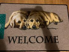 2 Golden Labrador's Welcome Dog Door Mat