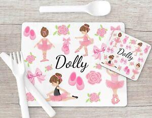 Ballerina Print Placemat & Coaster Set, Placemat Kids Gift Girls Stocking Filler