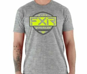 Brand New FXR Men's Ride T-Shirt ~ Grey Heather/ Hi-Vis ~2XL ~ #211313-0765-19