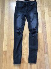 American Eagle Super Stretch black  Distressed Jeans Size 2 Regular
