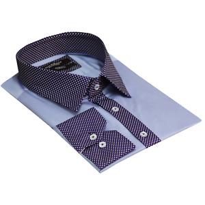 Men's Collar & Cuff Polka Dots Long Sleeve Casual Shirt Cotton Slim Fit Size 3XL