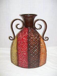 """Metal Floor Vase Decorative Red Gold Brown Embossed Scrolled Handles 15"""" x 11"""""""