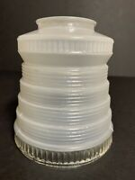 "Vtg Art Deco Frosted Glass Stack Sconce Chandelier Lamp Light Shade ~2 1/8"" Fit"
