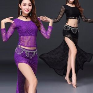 Belly Dance Lace Costume Top Long Skirt Suit Set Training Dance Practice Outfits