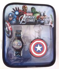 Marvel Avengers Captain America Wrist Watch & Key Chain Set In A Tiny Backpack
