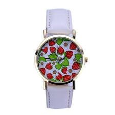 STRAWBERRY WATCH - WHITE STRAP -GUARANTEED + SPARE BATTERY- FREE UK P&P...CG0445