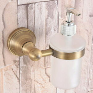 Antique Brass Wall Mounted Kitchen & Bathroom Sink Liquid Soap Dispenser Qba169