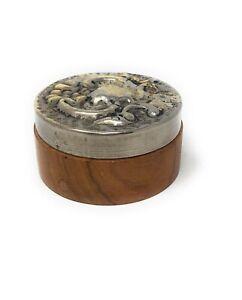 Vintage Treen & Metal Trinket Box, Pressed Metal Lid, Circa 1960