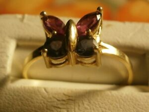 Butterfly Gemstone 14kt Yellow Gold Ring Size 9.25