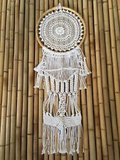 Boho Dreamcatcher Cane with Crochet & Macrame knotted hanging - White