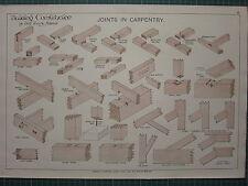 1900 architectural print ~ articulations en menuiserie bâtiment henry adams