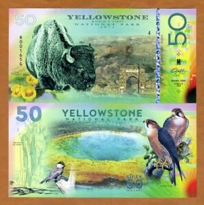 USA, Yellowstone National Park, $50, Polymer, 2018 > Bison, Falcon