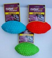 Football Shaped Squeaking Dog Toys (Set of 3) Blue, Red, Green