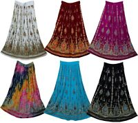 Indian Skirt Rayon Regular And Plus Size One Long Women Sequin Dress Skirts 8 Uk