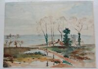 """Seaside View with Village and Church. Watercolour. 9.2"""" x 6.5."""