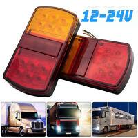 LED Rear Stop Tail Brake Indicator Light Red Amber Trailer Van Truck Lamp 12/24V