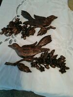 Vintage Pair Dart 1967 Bird on Dogwood Branch Wall Hanging Brown Gold Set Of 2