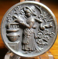 """Antique from France~ """"GIRL POURS WATER IN URN""""~Vintage White Metal Button"""