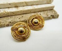 Vintage Modernist Gold Tone Chunky Dome Clip On Earrings A11