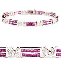 5.55 ct Ruby Diamond 18K White Gold Link Bracelet