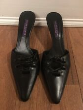Ralph Lauren Collection Black Pointed Toe Mules Size 8 B