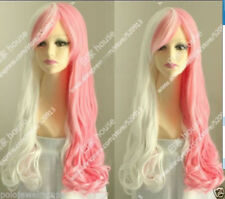 New wig Cosplay Cos Harajuku pink and white mix long curly Heat-Resistant Wig