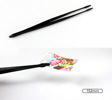 Professional Stamp Tweezers Black Spade 152mm Long For Stamp Banknote Collection