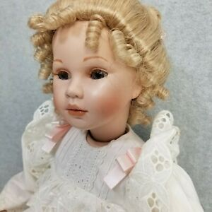 """21"""" Hand Signed Limited Edition porcelain Victorian child Doll by Pauline"""