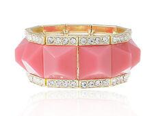 Gold Royal Square Pink Bead Rhinestone Accented Bracelet Fashion Bangle Cuff