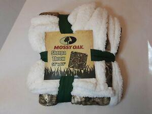 Mossy Oak Sherpa Brown Break Up Camo Camouflage Throw Blanket 50x60 [b]