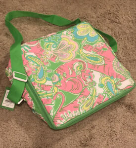 New Lilly Pulitzer cooler tote Chin Chin Monkey Elephant Paisley Pink Green