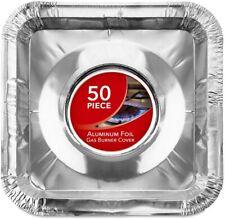 Gas Burner Liners (50 Pack) Disposable Aluminum Foil Square Stove Burner Covers
