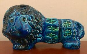 Bitossi Rimini Blue aldo londi figure lion italian pottery Blu