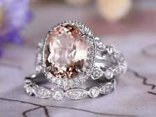 4Ct Oval Cut Morganite Syn Diamond Halo Solitaire Set Ring White Gold Fns Silver