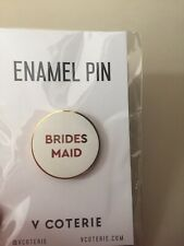 Pin New In Package Bridal Party White Small Round Lapel Bridesmaid Gift Enamel