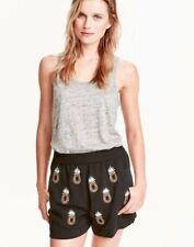 H&M Women's Size 12 Black Pineapple Embellished Shorts Festival