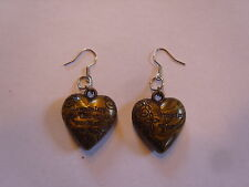 Ohrringe bronze farbenes Herz aus Kunststoff 2,5 cm Groß liebe Hingucker 1534