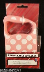 Bow Wow Pet Retractable Dog Leash Polka Dots  Pink/White 11.5 ft / upto 22 lbs