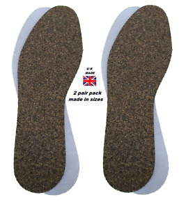 2 Pair Pack of Cork Ready Cut to Size Shoe Insoles