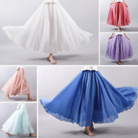 Fashion Women Ladies Linen Cotton Long Skirts Elastic Waist Pleated Maxi Skirts