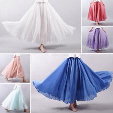 Women Cotton A-line Elastic High Waist Long Skirt Nations Wind Midiskirt Plus