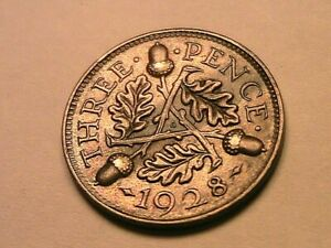 1928 Great Britain Threepence Nice XF+ Extra Fine Original Silver 3P UK Coin