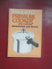 Vtg. Presto Pressure Cooker Manual -For Models 0121002 Plus other models