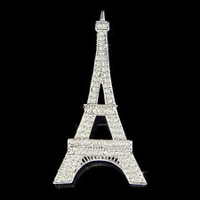 w Swarovski Crystal ~Big Eiffel Tower~ Paris France Souvenir Holiday Pin Brooch