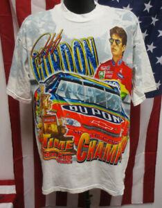 JEFF GORDON DUPONT XL SHIRT PRINTED NASCAR MENS VINTAGE RETRO VTG CHASE WHITE