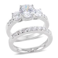 (Size 6.50) Tgw 6.440 Cts. Simulated Diamond Silvertone Ring Set