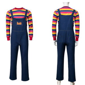 Child's Play Doll Chucky Cosplay Costume Halloween Carnival Outfit Custom Made
