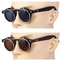 2 Pair Cool Flip Up Lens Steampunk Vintage Retro Round Sunglasses Silver Tortois