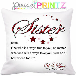 PERSONALISED SISTER NOUN CUSHION CHRISTMAS BIRTHDAY MOTHERS DAY GIFT UNIQUE LOVE